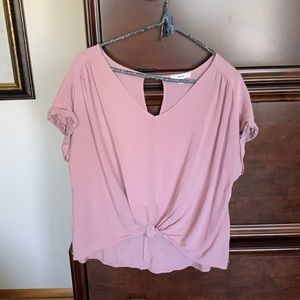 Pink tie front top by Mine Size L (234-0)